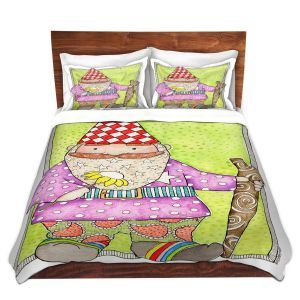Artistic Duvet Covers and Shams Bedding | Marley Ungaro - Gnome | Garden Gnome