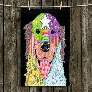 Unique Hanging Tea Towels | Marley Ungaro - Golden Retriever Dog Black | Abstract Colorful Golden Retriever