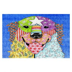Decorative Floor Coverings | Marley Ungaro Golden Retriever Dog Blue