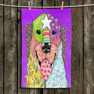 Unique Hanging Tea Towels | Marley Ungaro - Golden Retriever Dog Purple | Abstract Colorful Golden Retriever