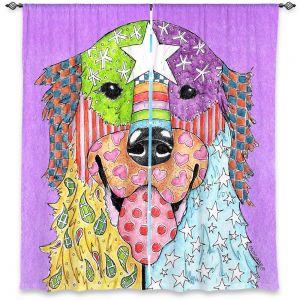 Decorative Window Treatments | Marley Ungaro Golden Retriever Dog Violet