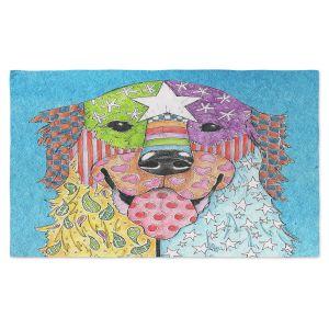 Artistic Pashmina Scarf | Marley Ungaro - Golden Retriever Dog Aqua | Abstract Colorful Golden Retriever