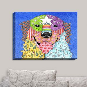 Decorative Canvas Wall Art   Marley Ungaro - Golden Retriever Dog Blue