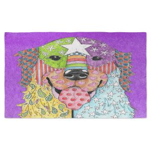 Artistic Pashmina Scarf | Marley Ungaro - Golden Retriever Dog Purple | Abstract Colorful Golden Retriever