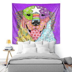 Artistic Wall Tapestry   Marley Ungaro Golden Retriever Dog Purple