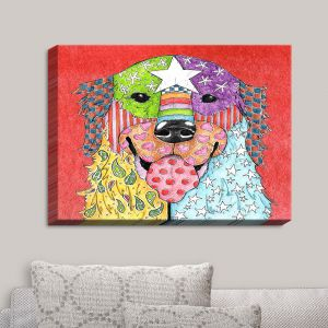 Decorative Canvas Wall Art | Marley Ungaro - Golden Retriever Dog Watermelon