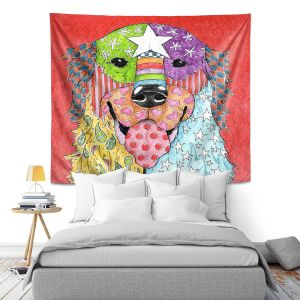 Artistic Wall Tapestry | Marley Ungaro Golden Retriever Dog Watermelon