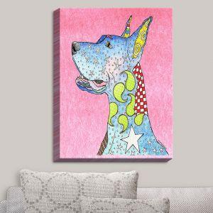 Decorative Canvas Wall Art   Marley Ungaro - Great Dane Light Pink   Dog Animal Pet Funk Colorful Great Dane