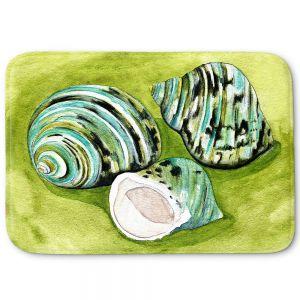 Decorative Bathroom Mats   Marley Ungaro - Green Turbo Shells   Ocean seashell still life nature