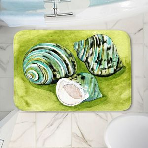 Decorative Bathroom Mats | Marley Ungaro - Green Turbo Shells | Ocean seashell still life nature