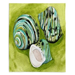 Decorative Fleece Throw Blankets | Marley Ungaro - Green Turbo Shells | Ocean seashell still life nature