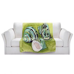 Artistic Sherpa Pile Blankets   Marley Ungaro - Green Turbo Shells   Ocean seashell still life nature