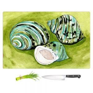 Artistic Kitchen Bar Cutting Boards   Marley Ungaro - Green Turbo Shells   Ocean seashell still life nature