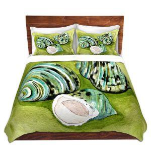 Artistic Duvet Covers and Shams Bedding | Marley Ungaro - Green Turbo Shells | Ocean seashell still life nature