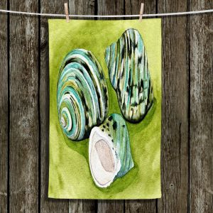Unique Hanging Tea Towels | Marley Ungaro - Green Turbo Shells | Ocean seashell still life nature