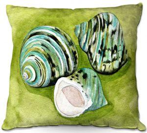 Decorative Outdoor Patio Pillow Cushion | Marley Ungaro - Green Turbo Shells | Ocean seashell still life nature