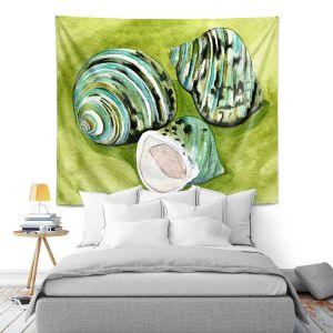 Artistic Wall Tapestry | Marley Ungaro - Green Turbo Shells | Ocean seashell still life nature