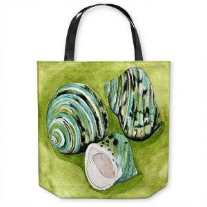 Unique Shoulder Bag Tote Bags | Marley Ungaro - Green Turbo Shells | Ocean seashell still life nature