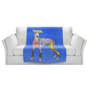 Artistic Sherpa Pile Blankets   Marley Ungaro - Greyhound Blue