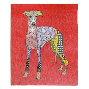 Artistic Sherpa Pile Blankets   Marley Ungaro - Greyhound Watermelon