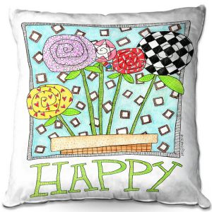 Decorative Outdoor Patio Pillow Cushion | Marley Ungaro - Happy Flowers | Floral Inspiration