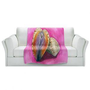 Artistic Sherpa Pile Blankets | Marley Ungaro - Heart Cockle | Ocean seashell still life nature