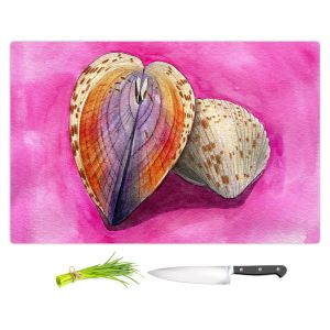 Artistic Kitchen Bar Cutting Boards   Marley Ungaro - Heart Cockle   Ocean seashell still life nature