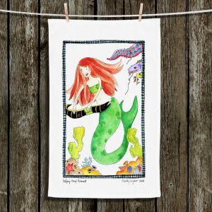 Unique Hanging Tea Towels | Marley Ungaro - Helping Hand Mermaid | Cute Mermaid Artwork