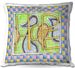 Decorative Outdoor Patio Pillow Cushion   Marley Ungaro - Hope   Text typography words