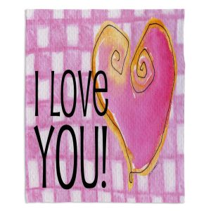 Decorative Fleece Throw Blankets | Marley Ungaro - I love You Pink