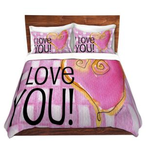 Artistic Duvet Covers and Shams Bedding | Marley Ungaro - I love You Pink