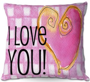 Decorative Outdoor Patio Pillow Cushion | Marley Ungaro - I love You Pink