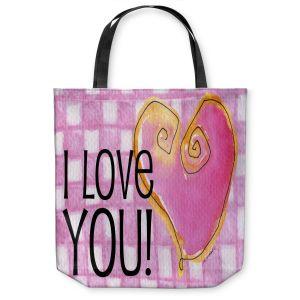 Unique Shoulder Bag Tote Bags | Marley Ungaro - I love You Pink