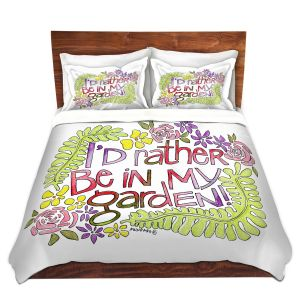 Artistic Duvet Covers and Shams Bedding   Marley Ungaro - In My Garden   Text typography words