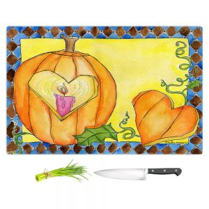 Artistic Kitchen Bar Cutting Boards | Marley Ungaro - Jack of Hearts | Halloween spooky pattern abstract