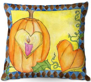 Decorative Outdoor Patio Pillow Cushion   Marley Ungaro - Jack of Hearts   Halloween spooky pattern abstract
