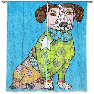 Decorative Window Treatments | Marley Ungaro - Jack Russell Aqua | dog collage pattern quilt