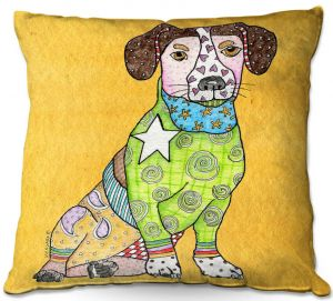Decorative Outdoor Patio Pillow Cushion | Marley Ungaro - Jack Russell Gold | dog collage pattern quilt