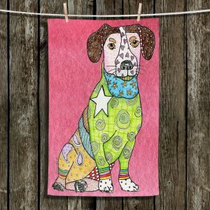 Unique Bathroom Towels | Marley Ungaro - Jack Russell Pink | dog collage pattern quilt