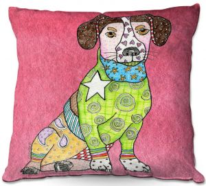 Decorative Outdoor Patio Pillow Cushion | Marley Ungaro - Jack Russell Pink | dog collage pattern quilt