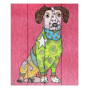 Decorative Wood Plank Wall Art | Marley Ungaro - Jack Russell Pink | dog collage pattern quilt