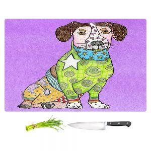 Artistic Kitchen Bar Cutting Boards | Marley Ungaro - Jack Russell Violet | dog collage pattern quilt
