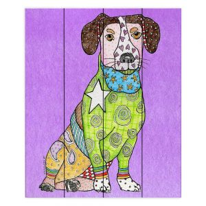 Decorative Wood Plank Wall Art | Marley Ungaro - Jack Russell Violet | dog collage pattern quilt