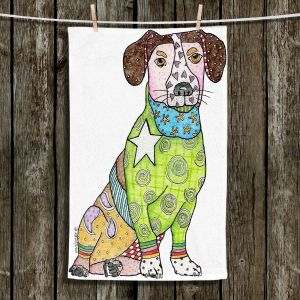 Unique Hanging Tea Towels | Marley Ungaro - Jack Russell Dog White | Dogs Jack Russell Terrier Animals