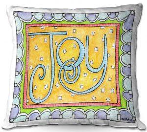 Decorative Outdoor Patio Pillow Cushion | Marley Ungaro - Joy | Text typography words