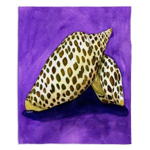 Decorative Fleece Throw Blankets | Marley Ungaro - Junonia | Ocean seashell still life nature