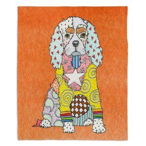 Decorative Fleece Throw Blankets   Marley Ungaro - King Charles Spaniel Orange