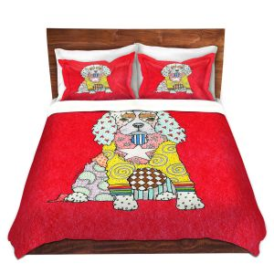 Artistic Duvet Covers and Shams Bedding | Marley Ungaro - King Charles Spaniel Red