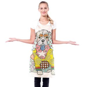 Artistic Bakers Aprons | Marley Ungaro - King Charles Spaniel White | Dog Animal Pet Pets Colorful Funky King Charles