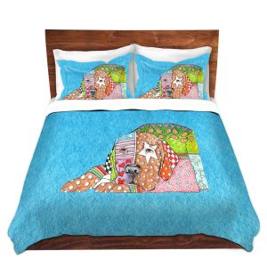 Artistic Duvet Covers and Shams Bedding | Marley Ungaro - Labrador Retriever Dog Aqua